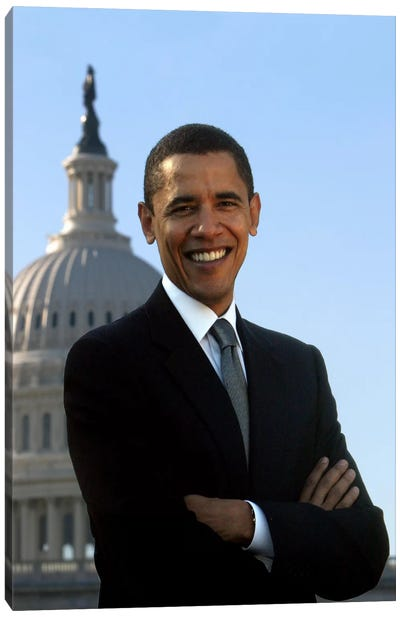 Barack Obama Portrait White House Canvas Art Print
