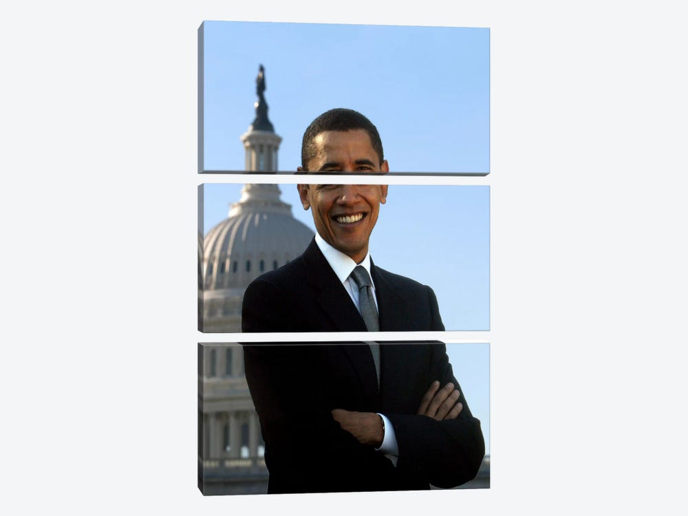 Barack Obama Portrait White House by Unknown Artist 3-piece Canvas Wall Art