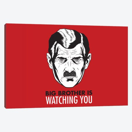 Big Brother Is Watching You 1984, Vintage Poster Canvas Print #3607} by Unknown Artist Canvas Art