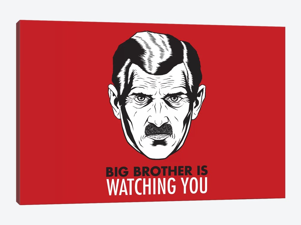 Big Brother Is Watching You 1984, Vintage Poster 1-piece Canvas Print