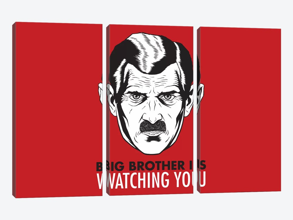Big Brother Is Watching You 1984, Vintage Poster 3-piece Canvas Print