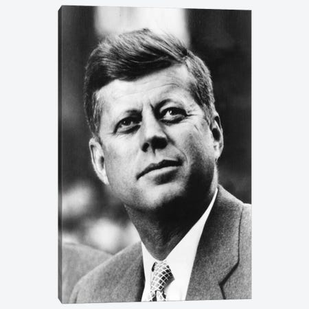 John F Kennedy JFK Portrait Canvas Print #3631} by Unknown Artist Canvas Art