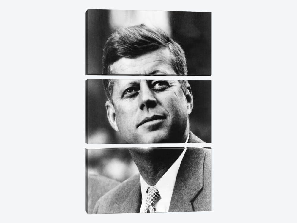John F Kennedy JFK Portrait by Unknown Artist 3-piece Canvas Art