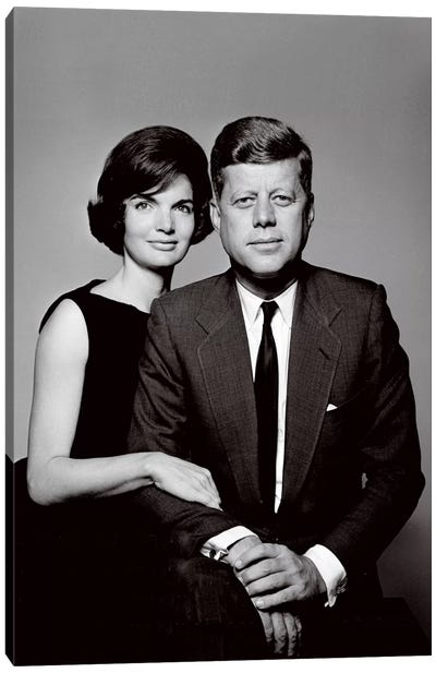 John & Jackie Kennedy Portrait Canvas Art Print