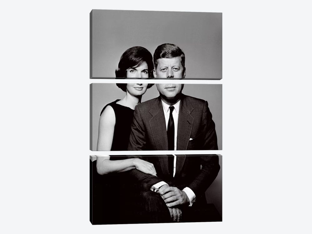 John & Jackie Kennedy Portrait by Unknown Artist 3-piece Art Print