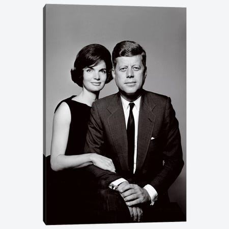 John & Jackie Kennedy Portrait Canvas Print #3632} by Unknown Artist Canvas Art