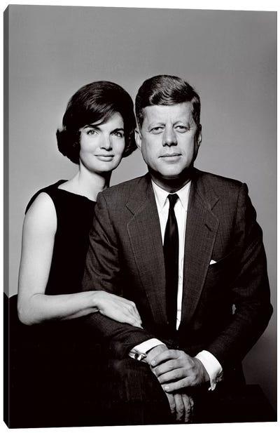 John & Jackie Kennedy Portrait Canvas Art Print