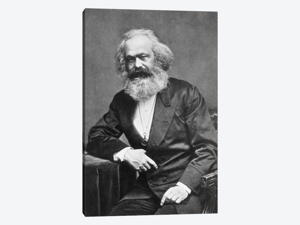 Karl Marx Portrait by Unknown Artist 1-piece Canvas Art Print