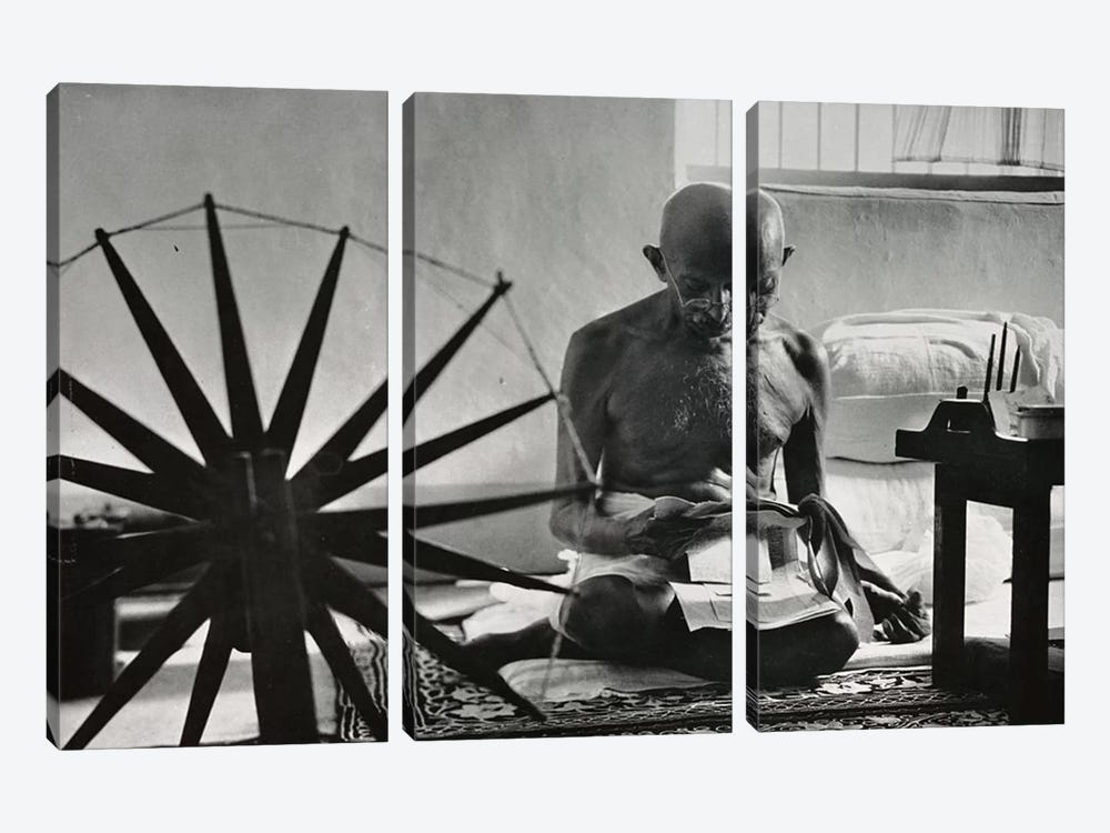 Mahatma Gandhi 3-piece Canvas Art