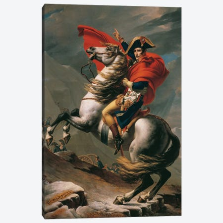 Napoleon Crossing The Alps Canvas Print #3649} by Jacques-Louis David Art Print