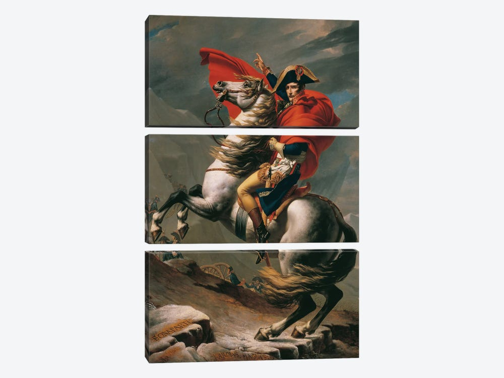 Napoleon Crossing The Alps by Jacques-Louis David 3-piece Canvas Art Print