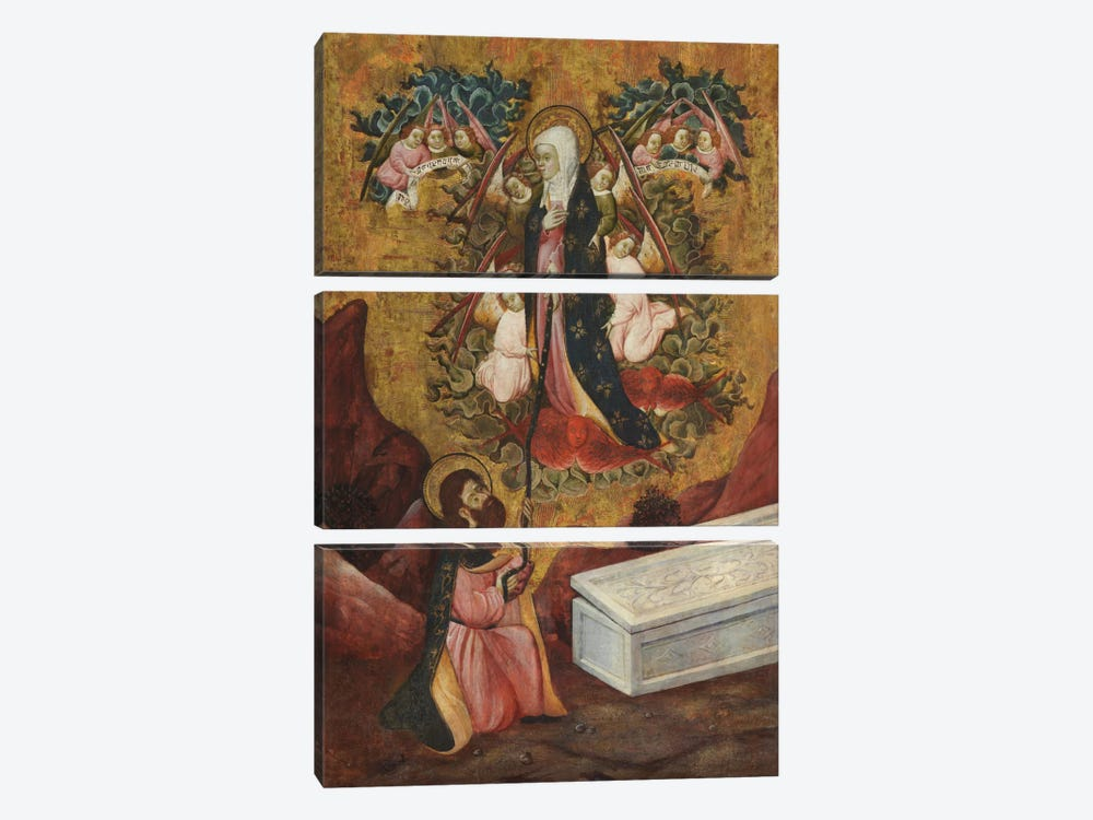 Saint Thomas Aquinas Receives The Sacred Belt From Virgin Mary by Unknown Artist 3-piece Canvas Art Print