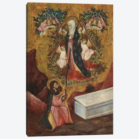 Saint Thomas Aquinas Receives The Sacred Belt From Virgin Mary Canvas Print #3663} by Unknown Artist Canvas Print
