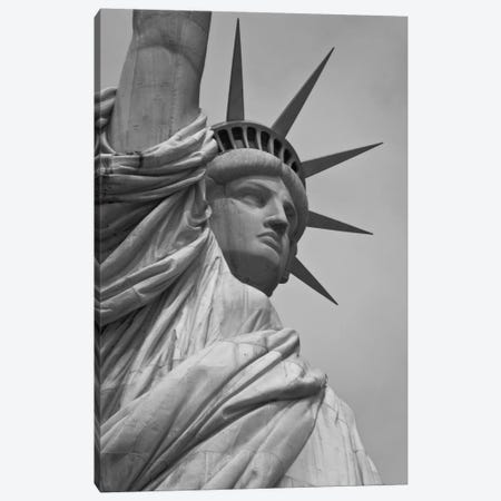 Statue of Liberty Black & White Canvas Print #3666} by Unknown Artist Canvas Art