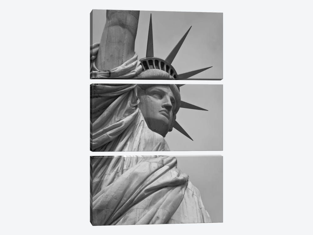 Statue of Liberty Black & White by Unknown Artist 3-piece Canvas Wall Art