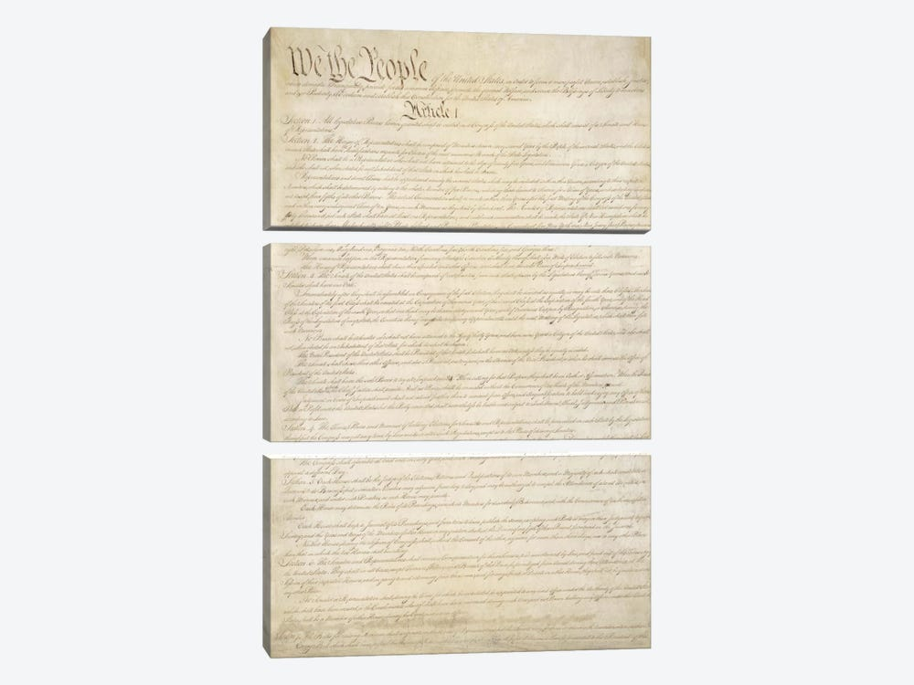 The Constitution Document by Unknown Artist 3-piece Canvas Art Print