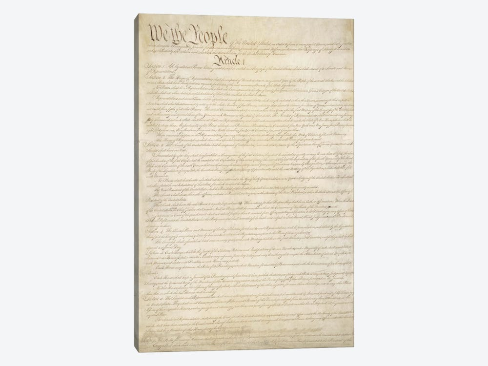 The Constitution Document by Unknown Artist 1-piece Canvas Art Print