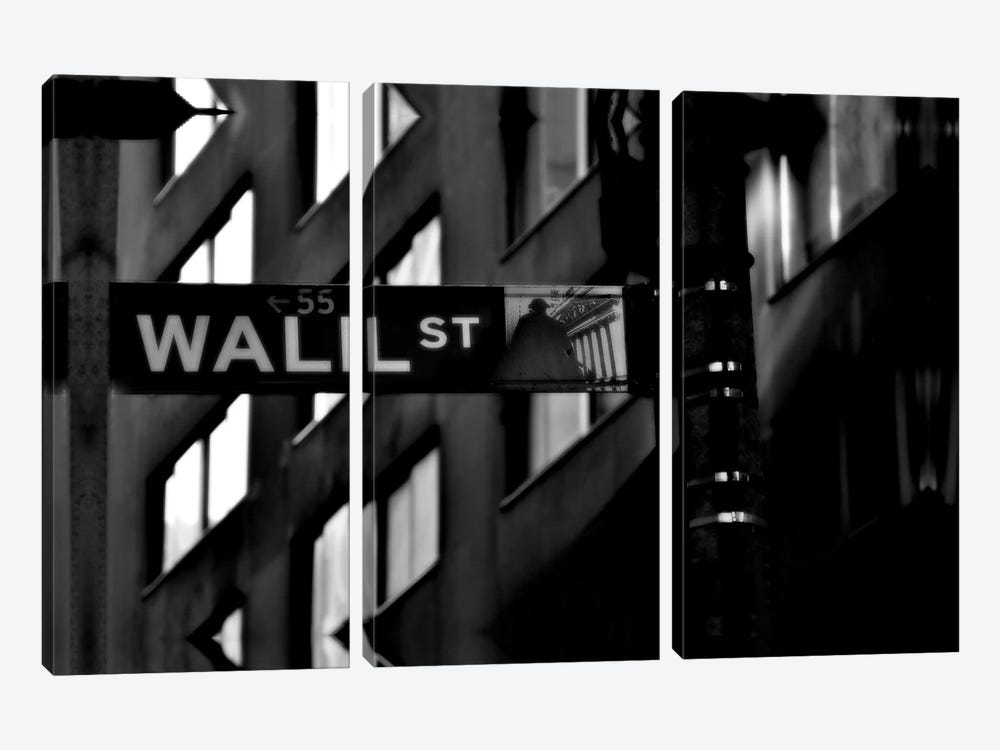 Wall Street Sign by Unknown Artist 3-piece Canvas Print