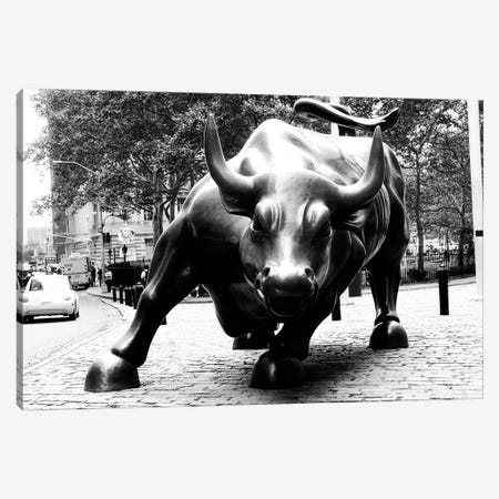 Wall Street Bull Black & White Canvas Print #3686} Canvas Wall Art