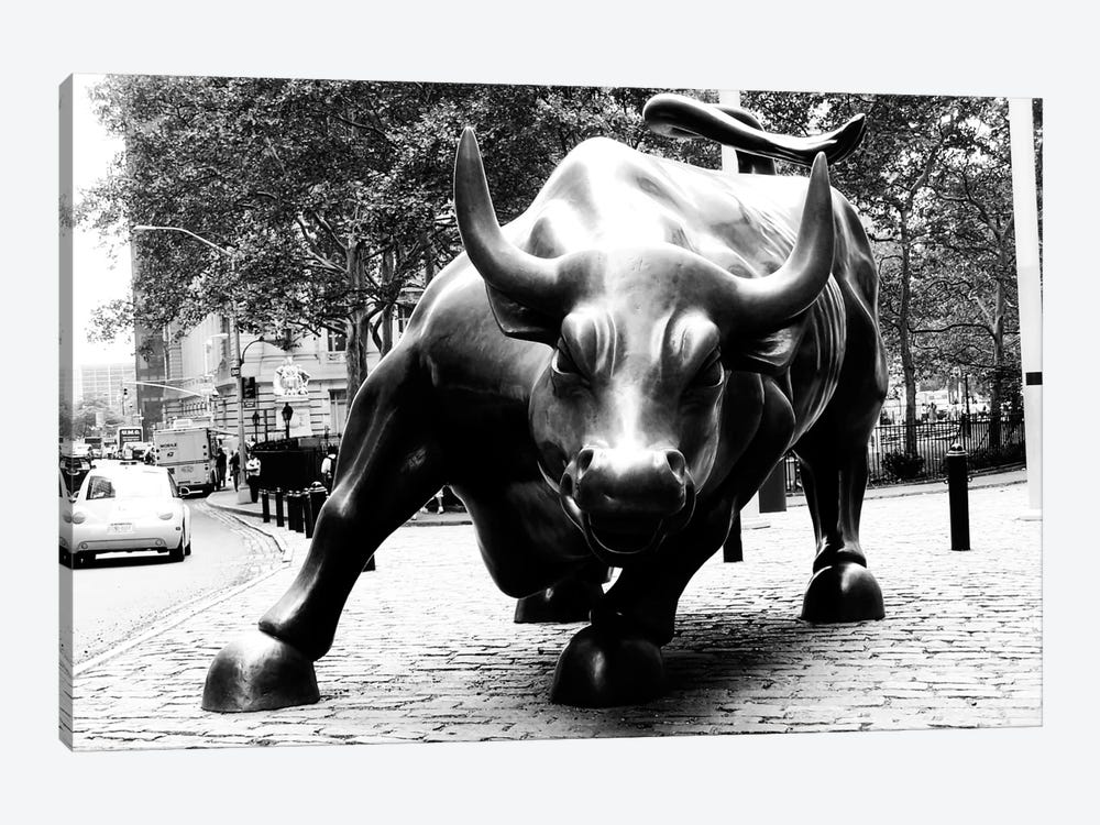 Wall Street Bull Black & White 1-piece Canvas Wall Art