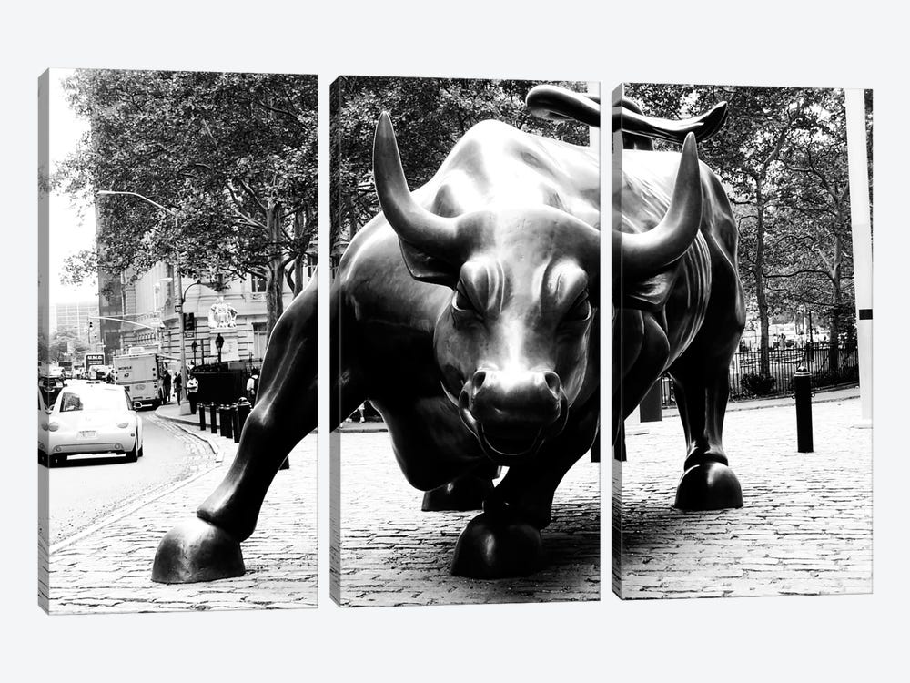 Wall Street Bull Black & White by Unknown Artist 3-piece Canvas Art
