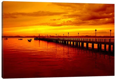 Sunset At The Pier Canvas Art Print