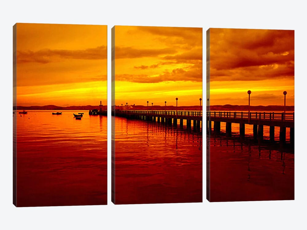 Sunset At The Pier by Unknown Artist 3-piece Canvas Art