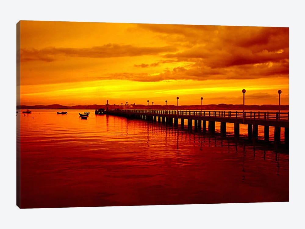 Sunset At The Pier by Unknown Artist 1-piece Canvas Wall Art