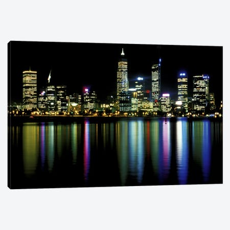 Downtown City Lights Canvas Print #3} Canvas Artwork