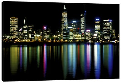 Downtown City Lights Canvas Art Print