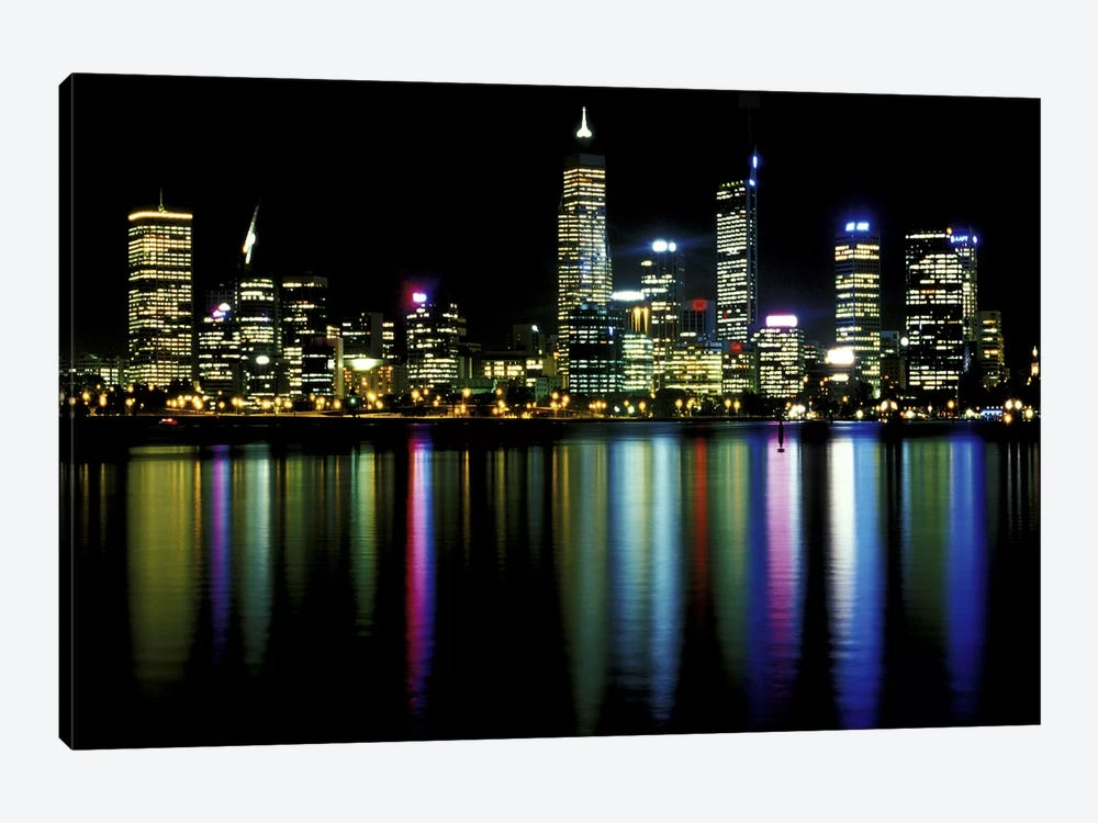 Downtown City Lights by Unknown Artist 1-piece Canvas Artwork