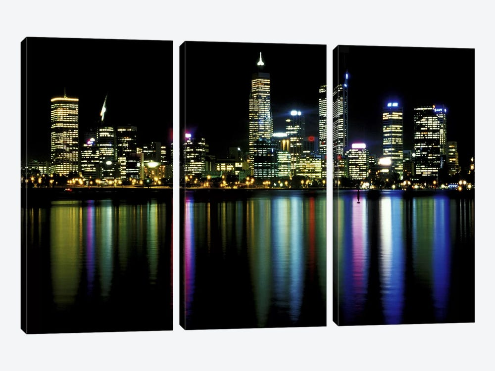 Downtown City Lights by Unknown Artist 3-piece Canvas Art