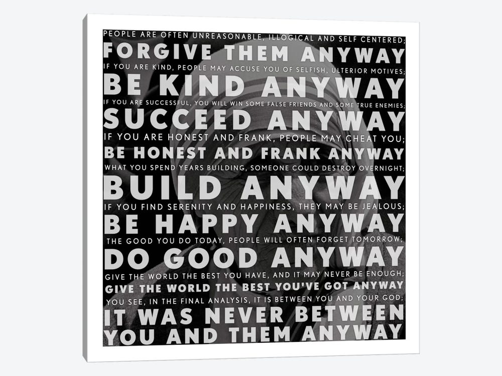 Mother Teresa Quote by Unknown Artist 1-piece Canvas Print