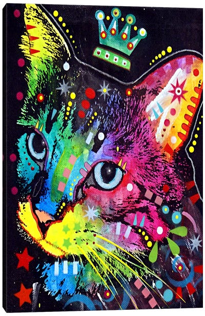 Thinking Cat Crowned Canvas Art Print
