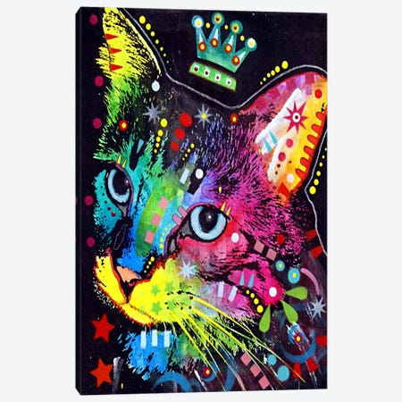 Thinking Cat Crowned Canvas Print #4211} by Dean Russo Art Print