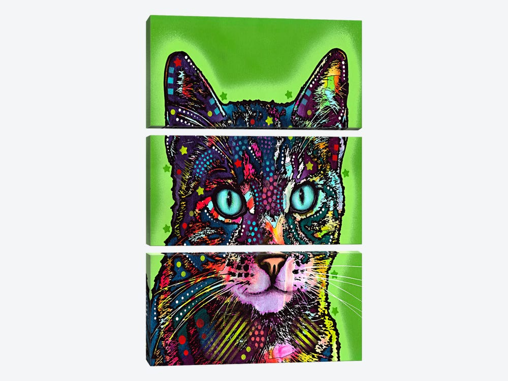 Watchful Cat by Dean Russo 3-piece Canvas Wall Art