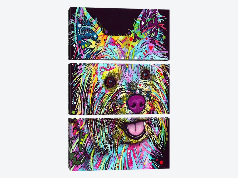 Yorkie by Dean Russo 3-piece Canvas Art Print