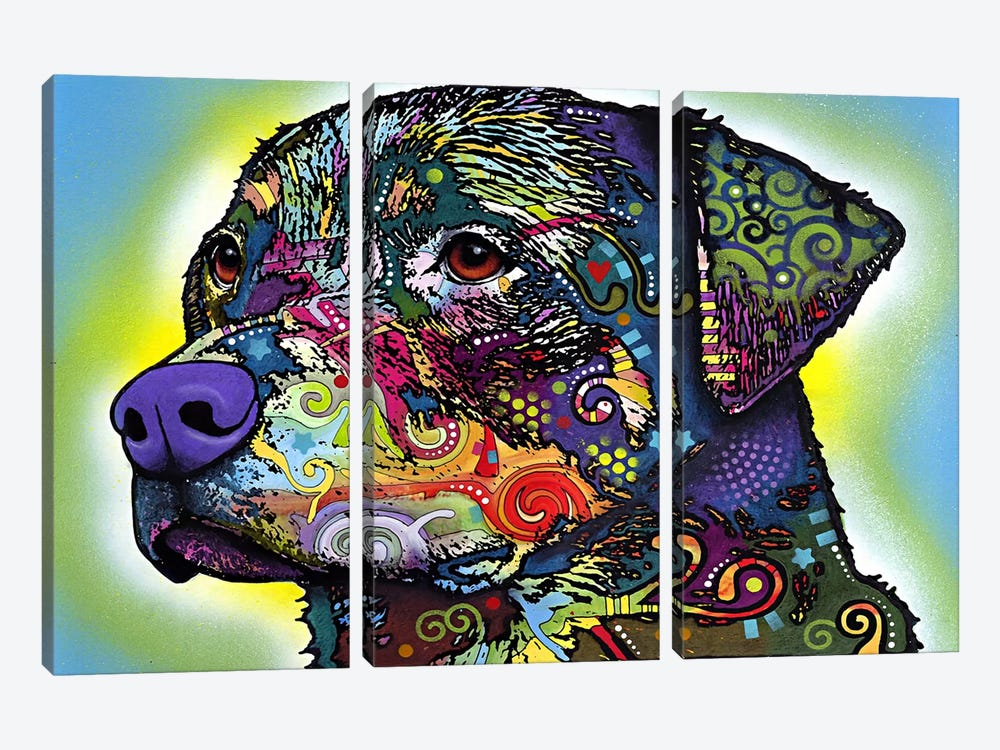 The Rottweiler by Dean Russo 3-piece Canvas Wall Art