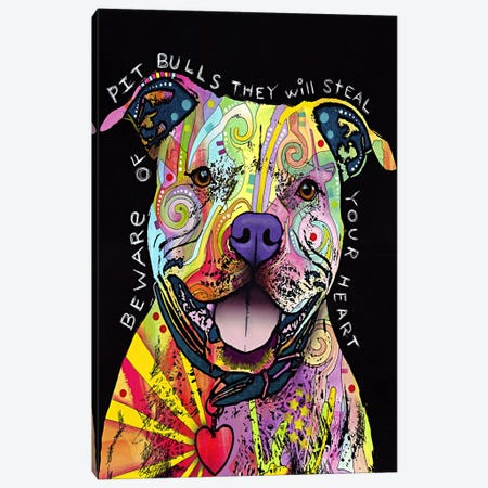 Beware of Pit Bulls Canvas Print #4231} by Dean Russo Art Print