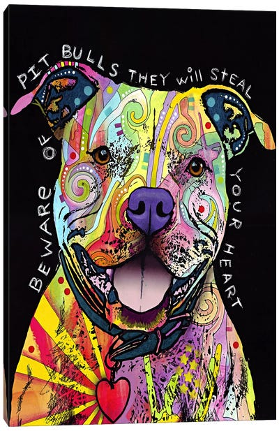 Beware of Pit Bulls Canvas Art Print
