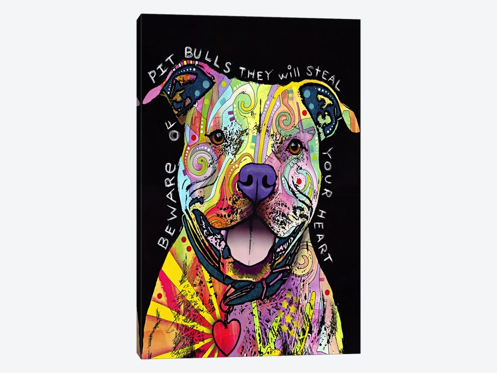 Beware of Pit Bulls by Dean Russo 1-piece Canvas Art Print