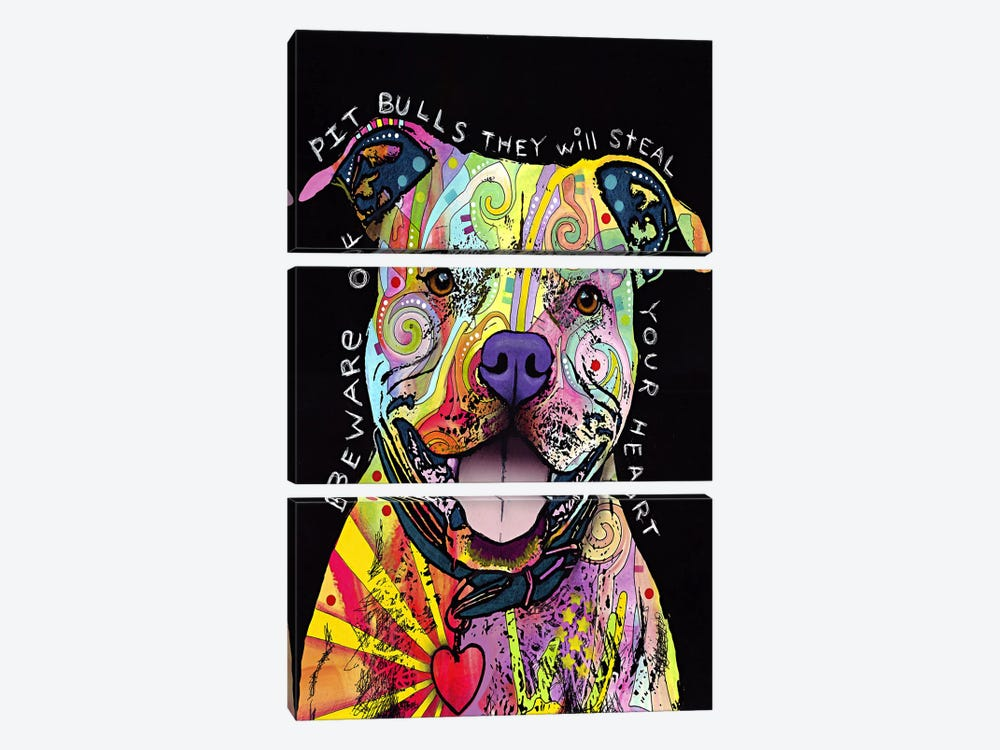 Beware of Pit Bulls by Dean Russo 3-piece Canvas Print