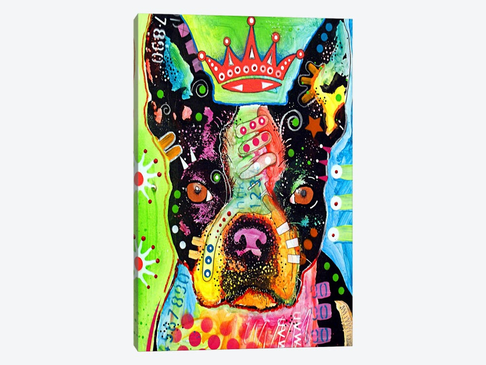 Boston Terrier Crowned by Dean Russo 1-piece Canvas Art