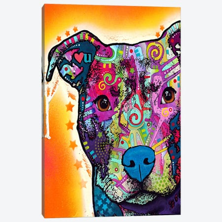 Heart U Pit Bull Canvas Print #4251} by Dean Russo Art Print