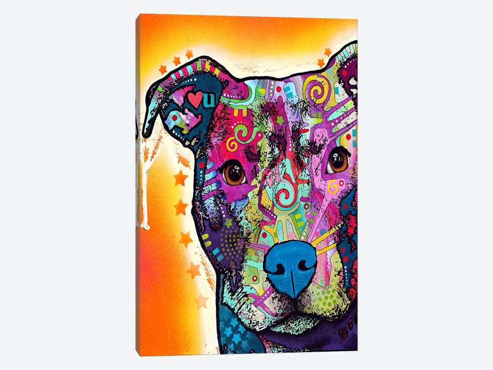 Heart U Pit Bull by Dean Russo 1-piece Art Print
