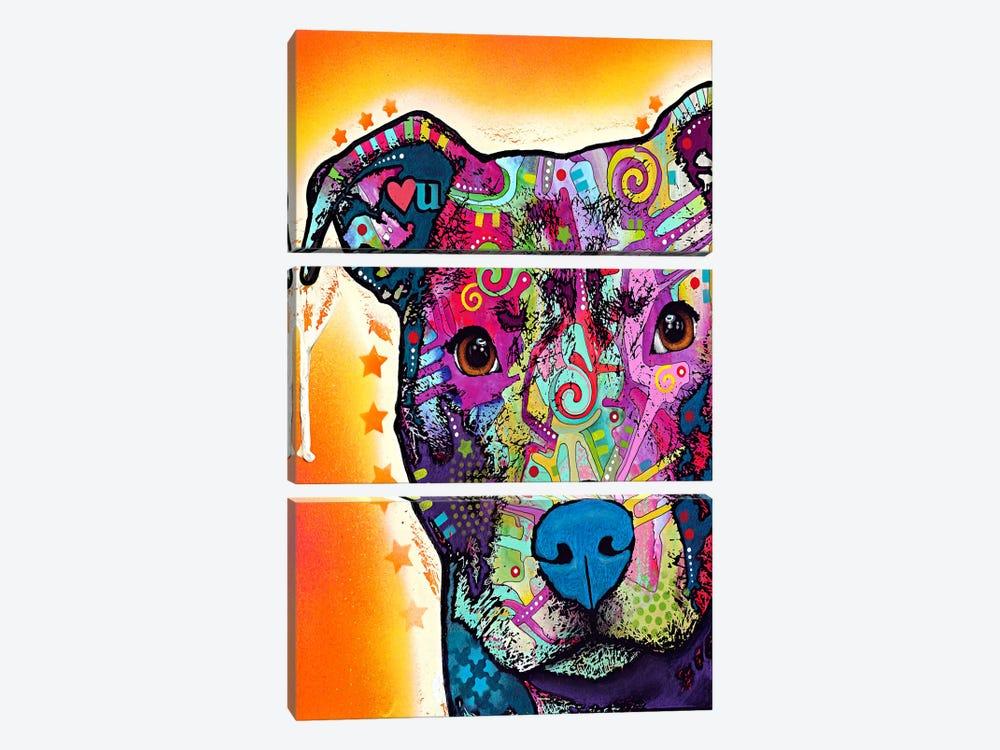 Heart U Pit Bull by Dean Russo 3-piece Art Print
