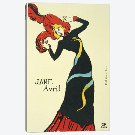 Jane Avril Vintage Poster Canvas Print #5000} by Henri de Toulouse-Lautrec Art Print