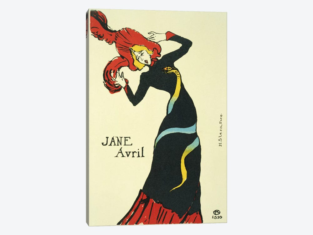 Jane Avril Vintage Poster by Henri de Toulouse-Lautrec 1-piece Canvas Wall Art