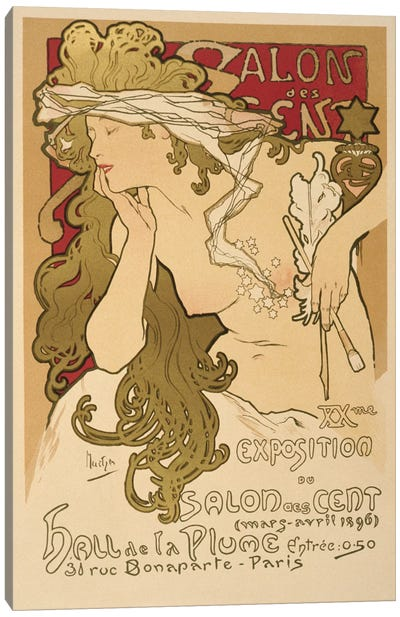 Salon Des Cent: 20th Exposition Vintage Poster by Alphonse Mucha Canvas Art