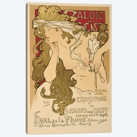 Salon Des Cent: 20th Exposition Vintage Poster Canvas Print #5005} by Alphonse Mucha Canvas Art